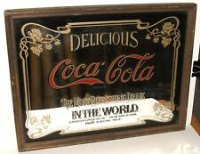 SMALL VINTAGE COCA COLA BAR MIRROR FRAMED IN WOOD 1979