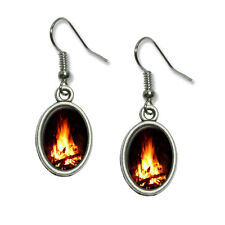 Campfire - Camp Camping Fire Pit Logs Flames - Dangling Drop Oval Charm Earrings