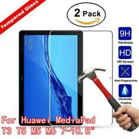 "2 Pack Tempered Glass For Huawei MediaPad T3 T5 M5 M6 7-10.8"" Screen Protector"