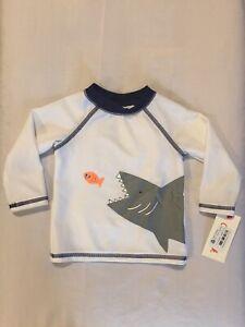 New Infant Boy's Cat & Jack Shark Print Swim Shirt Rash Guard Size 3-6 Months