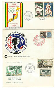 Africa,Sénégal,Dakar,3 First Day cover 1958,64,65. 1 Is Tokyo Olympic Games..