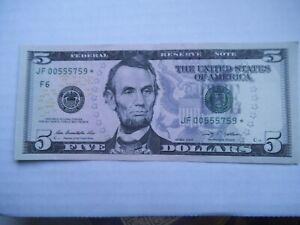 2009 $5 Star Federal Reserve Note JF00555759* five dollar, F6 Atlanta  AU