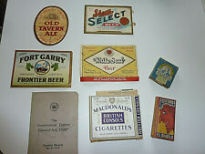 1930s Canadian Beer Labels and Other Extras