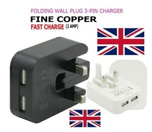 Wall Plug Dual USB Port Fastest 2 AMP Folding Mains With Free Charging Cable UK