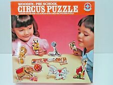VINTAGE WOODEN PRE-SCHOOL CIRCUS PUZZLE NEVER USED TOY ESTRELA MADE IN BRAZIL