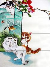 Mural Ceramic Backsplash Bath Cats Fish Art Tile #755