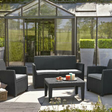 Keter Garden rattan furniture 4 seater chairs storage table sofa set graphite