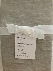 POTTERY BARN BELGIAN FLAX LINEN DUOTONE WHITE/NATURAL CONTRAST STANDARD SHAM NEW