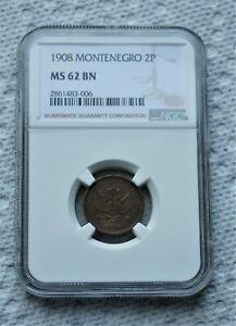 Montenegro - 2 Pare 1908 NGC MS62 !!!