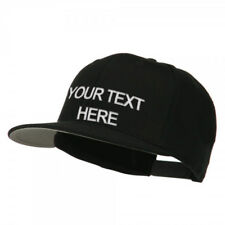 Custom Personalized Embroidered Text on Black Snapback Cap Hat - New