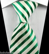 New Classic Stripes Green White JACQUARD WOVEN 100% Silk Men's Tie Necktie