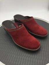 Cole Haan Womens Clog Wedge Heels Shoes Red Stitched Slip On Suede Mules 8.5 B