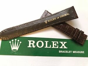 vintage genuine rolex brown crocodile strap swiss made
