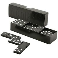 DOUBLE SIX DOMINOES DOMINO SET OF 28 Black TILES NEW Made in Russia SALE