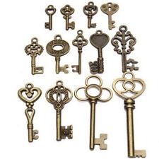 Set of 13 Antique Vintage Old Look Bronze Skeleton Key Fancy Heart Bow Tw