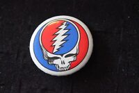 Rare Vintage Pin back button GRATEFUL DEAD Concert tour badge Skull Lightning