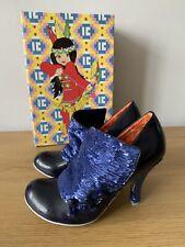 Irregular Choice. Alphabite Sequin Button. Navy Blue Heels Shoes. 4 / 37 BNIB
