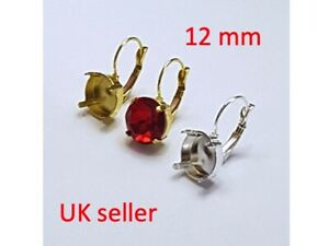 1 Pair Round 12mm Lever back Claw Earring Settings Base 1122 Crystal Fancy Stone