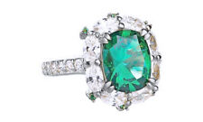 Fashion Ring in 14K White Gold Over 8.48 Cttw Emerald & Cubic Zirconia Solitaire