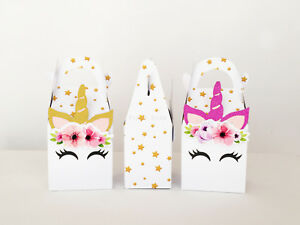 12x UNICORN PARTY BOX LOLLY BAG TOPPER BUNTING SUPPLIES CUPCAKE CAKE FAVOUR