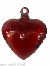 Mexican Glassware - Red Blown Glass Hanging Hearts Jumbo size (set of 3)