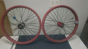ACS Z Rims Red w/ red Z hubs (36 84) free wheel, for parts or repair or rebuild
