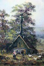 German  Farmyard Scene Oil Painting  Woman Feeding Ducks  signed Behringer