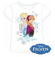 Girls Kids Official Disney Frozen Anna & Elsa Character T-Shirt Disney Ages 2-8