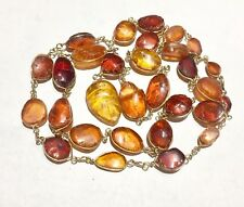 Old solid carved amber with age patina necklace gold fill