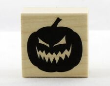 Evil Jack O' Lantern Pumpkin Wood Mounted Rubber Stamp Hero Arts NEW halloween