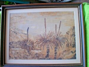 1 x  NATURAL BARK PICTURE BY B DEVANTIER GRASS TREES MELALEUKA + PAPER BARK