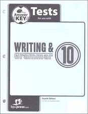 BJU Press  Writing and Grammar 10 Tests Answer Key - 296590