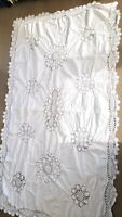 Vintage cotton Lace Knit Tablecloth Modern Country Farmhouse Style White crochet