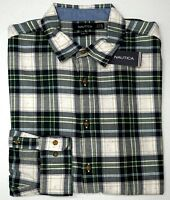 Orig $79 Nautica Green Plaid Long Sleeve Shirt Mens Size XL 100% Cotton Slim Fit
