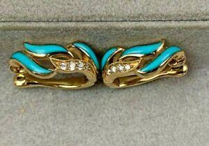 First Quality Kabana 14k Yellow Gold Turquoise & Diamond Huggie Earrings