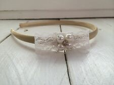 Gold Satin Alice Band Hairband Lace Bow Pearl & Diamanté Bridesmaid Flower Girl