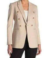 T Tahari Peak Lapel Double Breasted Jacket Light Wood Size 4