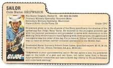 1985 Shipwreck v.1 FILE CARD #2 peach filecard bio original GI/G.I Joe Cobra JTC