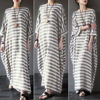 Fashion PLUS Womens Cotton Linen Long Shirt Dress Kaftan Loose Long Maxi Dresses