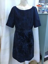 Fab Boden Sz 14L Blue Vintage Style Dress With Flock Velvet Floral Detail