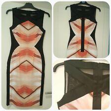 Karen Millen Pencil Dress Size 10 - Black & Peach Colour - Good condition