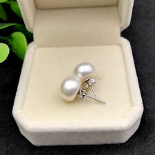 9-10mm Genuine White Akoya Freshwater Pearl 925 Sterling Silver Stud Earrings