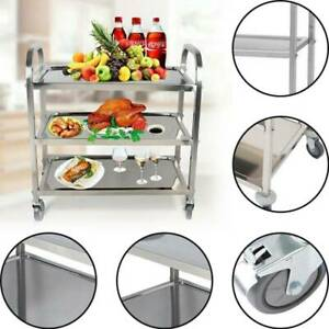 3 Tier Kitchen Hotel Trolley Stainless Steel with Wheels Bar Serving Catering UK