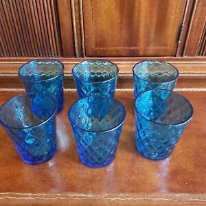 Set of 6 Small Mold Blown Blue Glasses Circa 1890 - Green under Black Light
