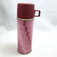 Vintage Thermos 2210 Red Plaid King Seeley 1960s Pint Size w Cup Stopper Checked