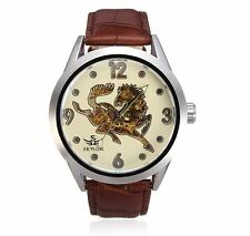 Leather Mechanical Horse Big Dial Watch Orologio Automatico Uomo