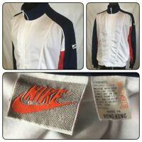 NIKE ZIP TRACK JACKET FULL VTG MEN S BLUE XL WHITE GREY RED TAG POCKETS 80'S/90S