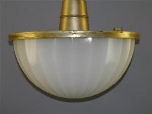 MID-CENTURY MODERN BRONZE OPALINE CLASS DORIC DOME LIGHT FIXTURE SIGNED