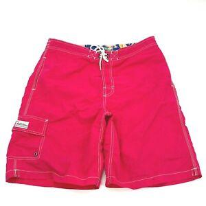 Vtg Polo Ralph Lauren Swim Trunks Spell Out ReaD Lined  Shorts Pink Mens Medium