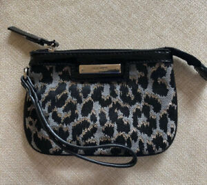 Womens Zip Purse Gold Thread And Snow Leopard Pattern Genuine Clutch Wallet Nice